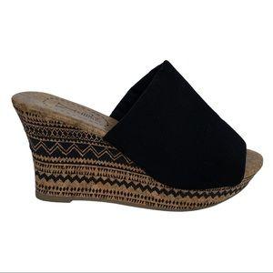 Y Not? Cork Wedge Tribal Sandal Heels